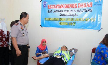 Satuan Lalu Lintas Polres Maluku Tengah melaksanakan Donor Darah Dan Anjang Sana Dalam Rangka Memperingati HUT Polantas Yang Ke-62