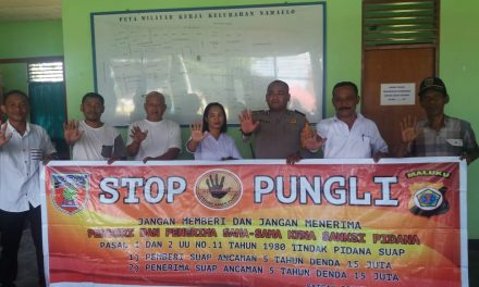 Sosialisasi Saber Pungli, Bhabinkamtibmas Kelurahan Namaelo di Kantor Kelurahan Namaelo